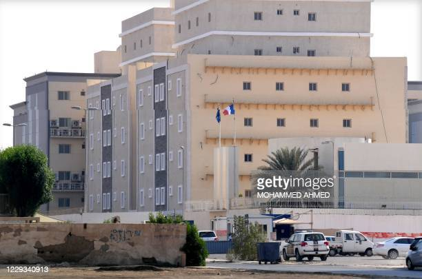 Picture taken from a distance shows the French consulate in the Saudi Red Sea port of Jeddah on October 29, 2020. - A Saudi citizen wounded a guard...