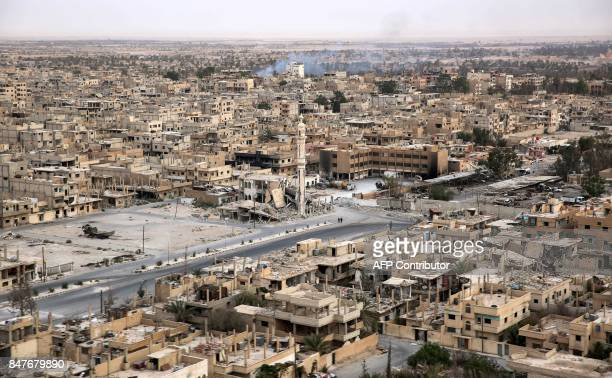 A picture taken from a helicopter during a press tour provided by the Russian Armed Forces on September 15 2017 shows an aerial view of the modern...