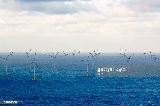 A picture taken from a helicopter shows wind turbines at the Belwind wind farm the first renewable electricity central in Belgium in the Belgian port...
