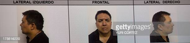 "Picture taken from a sreen of the alleged maximun leader of drugs Mexican cartel ""Los Zetas"", Miguel Angel Trevino Morales, presented in combo..."
