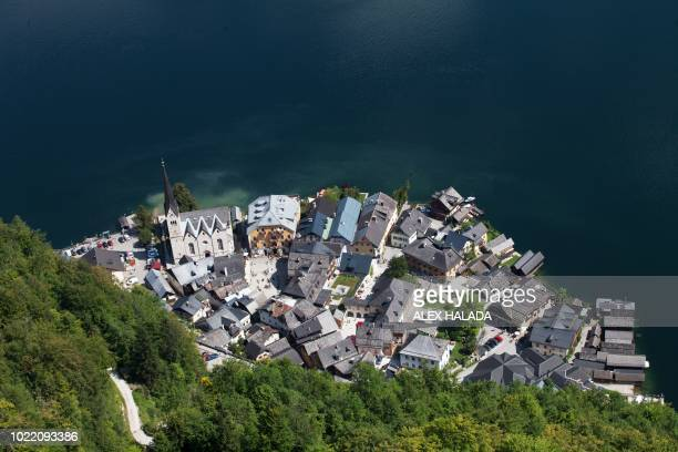 Picture taken from a suspended platform above the Hallstatt Lake shows an overview of Hallstatt, at the world heritage salt-mine in Hallstatt,...