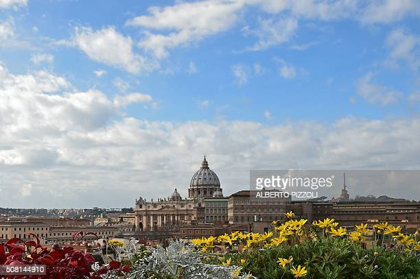 TOPSHOT A picture taken from a terrace of Rome shows St Peter's basilica at the Vatican on February 3 2016 AFP PHOTO / ALBERTO PIZZOLI / AFP /...