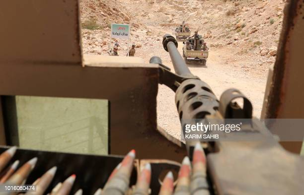 A picture taken from a UAE military vehicle on August 8 2018 during a trip in Yemen organised by the UAE's National Media Council shows Yemeni...