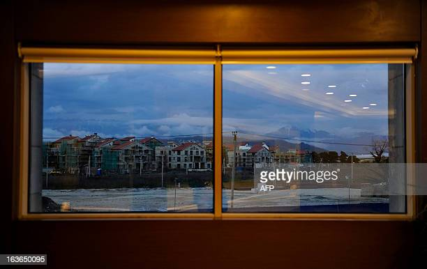 A picture taken from a window of Radisson Blu hotel in the Russian Black Sea resort of Sochi on March 13 2013 shows a view of the Olympic village...