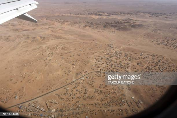 A picture taken from an airplane on June 3 shows the Western Sahara refugee camp of Rabuni / AFP / Farouk Batiche