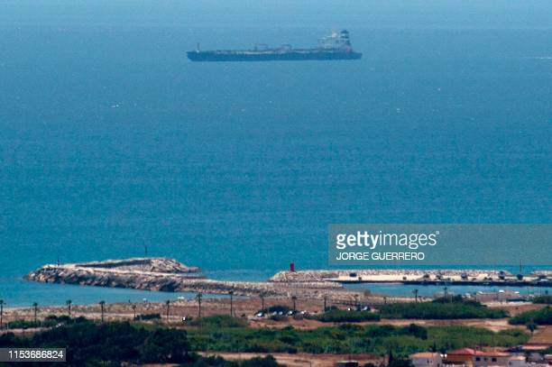 Picture taken from La Linea de la Concepcion in southern Spain shows supertanker Grace 1 suspected of carrying crude oil to Syria in violation of EU...