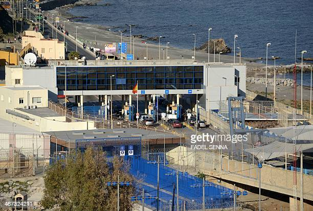 A picture taken from Morocco on February 6 2014 shows the bordercrossing between Morocco and Spain's north African enclave of Ceuta Nine subSaharan...