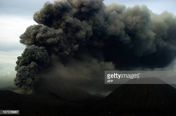A picture taken from Probolinggo eastern Java shows Mount Bromo volcano belching hot ash into the air on November 27 2010 Mount Bromo a popular...