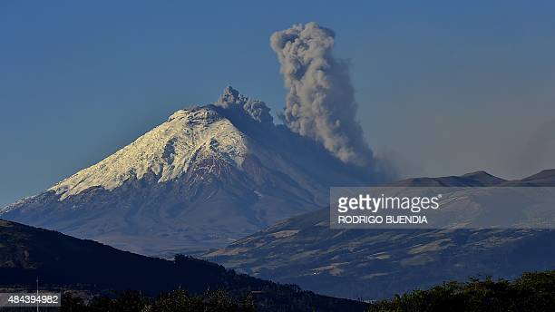 Picture taken from Quito of the Cotopaxi volcano spewing ash on August 18 2015 Nearly 325000 people could be affected by an eruption of Cotopaxi the...
