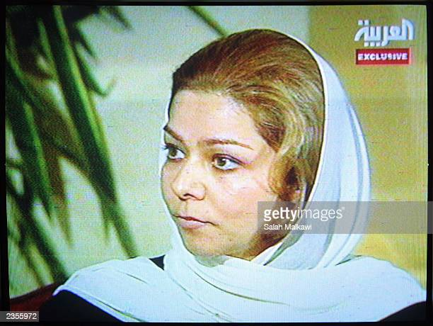A picture taken from television shows Saddam Hussein's oldest daughter Raghad Hussein during an exclusive interview with the AlArabia station at a...