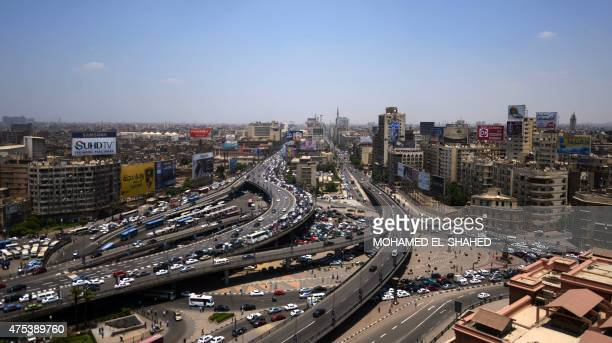 A picture taken from the building of the National Democratic Party shows shows the October bridge and Ramses Street on May 31 in the Egyptian capital...