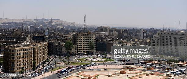 A picture taken from the building of the National Democratic Party shows Tahrir Square on May 31 2015 in the Egyptian capital Cairo Angry protesters...