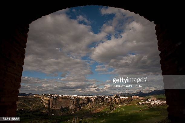 Picture taken from the Casa Rua tower on March 31, 2016 shows the city of Ronda. / AFP / JORGE GUERRERO