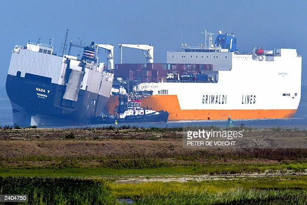 Picture taken from the Dutch coast near Bath showing the two cargo ships the 186 meter long long Panamanian Nada V and the 214 meter long Italian...