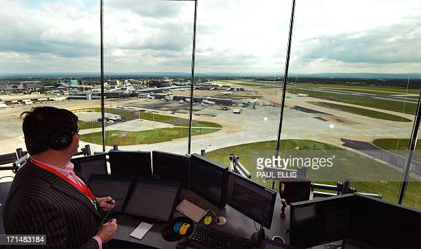 A picture taken from the new Air Traffic Control tower shows Manchester Airport northwest England on June 25 during a media preview of the 20 million...