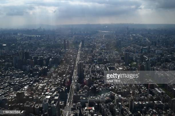 A picture taken from the Skyline observatory at the Taipei 101 a 508meter high commercial building in Taipei on August 27 2019