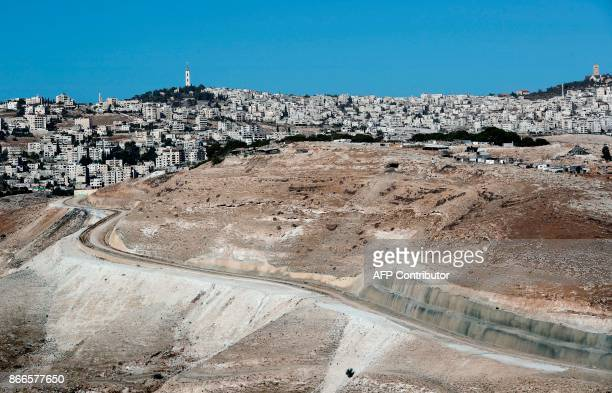 A picture taken from the West Bank Israeli settlement of Maale Adumim shows buildings in East Jerusalem on October 26 2017 Senior Palestinian...