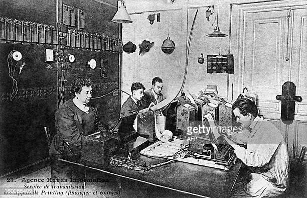 A picture taken in 1922 shows a service of transmissions at the headquarters of Press Agency Havas in the 30s in Paris AFP PHOTO