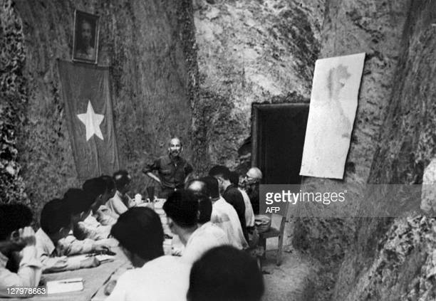 Picture taken in 1948 of Ho Chi Minh the founder of the Indochina communist party and Vietnamese President presiding over a session of the Council of...
