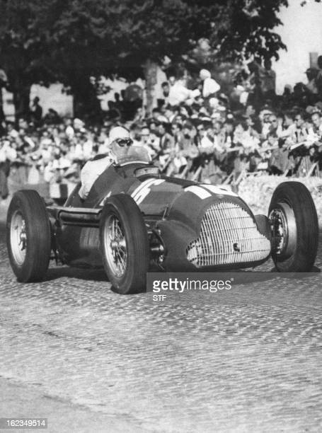 Picture taken in 1952 on the Bern race track of Italian driver Giuseppe Farina driving his Alfa Romeo Farina was the first Formula One World champion...