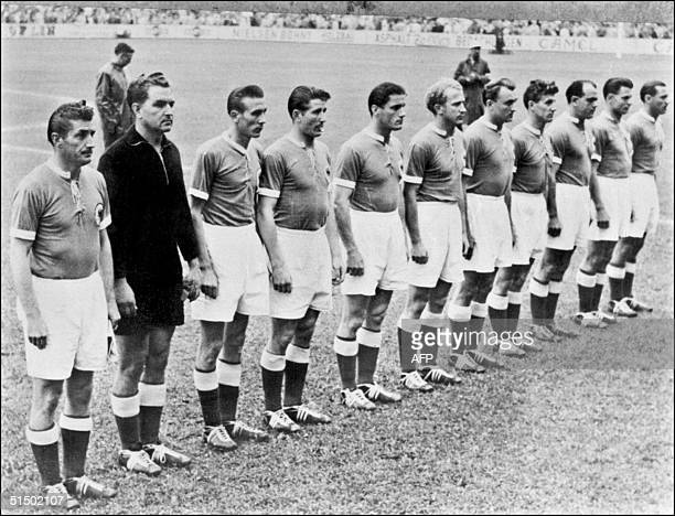 Picture taken in 1954 of the German national team lining up before the start of a soccer match AFP PHOTO