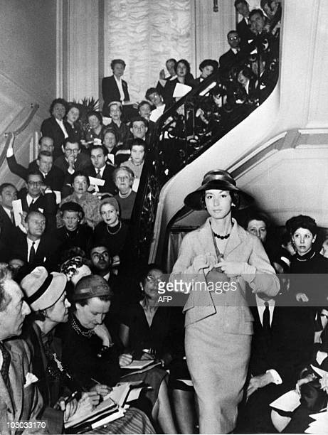 Picture taken in 1956 of a Christian Dior fashion show in the Maison Dior in Paris