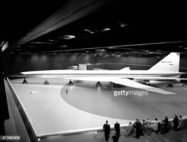 Picture taken in 1969 showing the fullscale mockup of the Boeing 2027 SST the first American supersonic transport project in the Boeing Developmental...