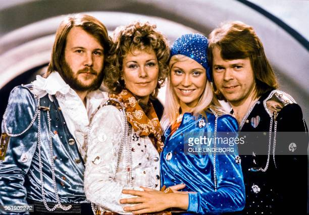 Picture taken in 1974 in Stockholm shows the Swedish pop group Abba with its members Benny Andersson AnniFrid Lyngstad Agnetha Faltskog and Bjorn...