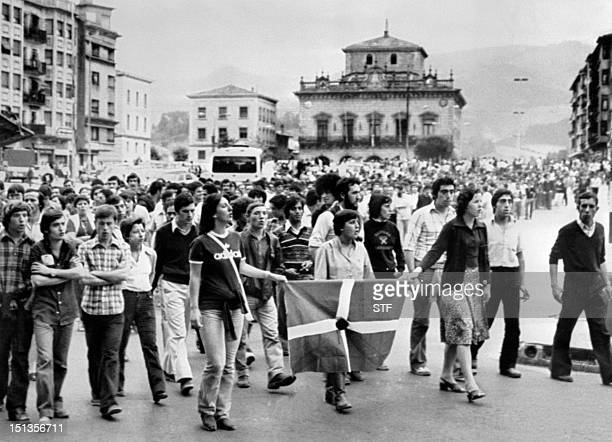 Picture taken in 1978 in Irun of people gathered by Herri Batasuna considered the political wing of the Basque separatist paramilitary organization...