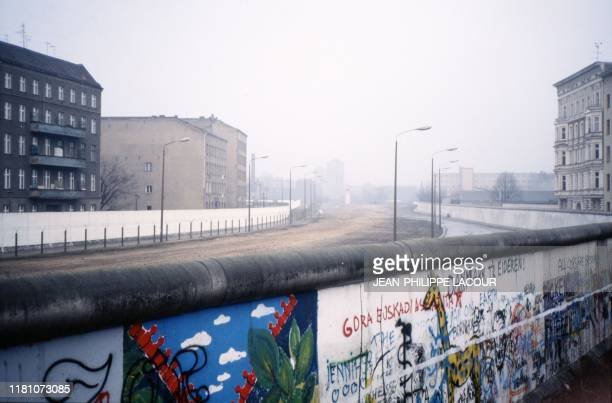 Picture taken in 1988 and made available on November 9, 2019 shows a view taken from West Berlin showing the death strip at the Berlin Wall. -...
