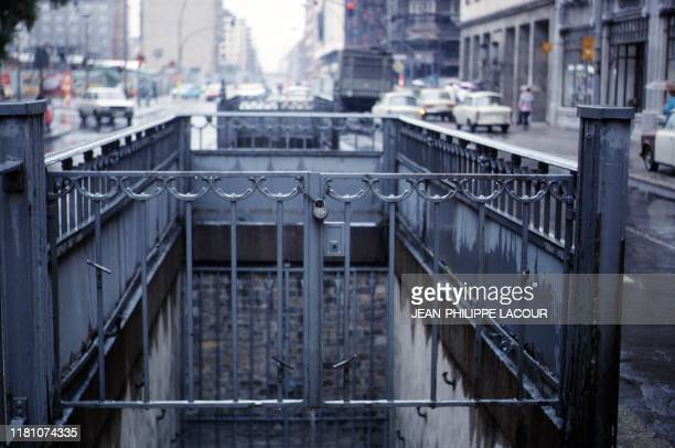Picture taken in 1988 and made available on November 9 2019 shows a closed subway station at the crossroads Friedrichstrasse and Franzoesische...