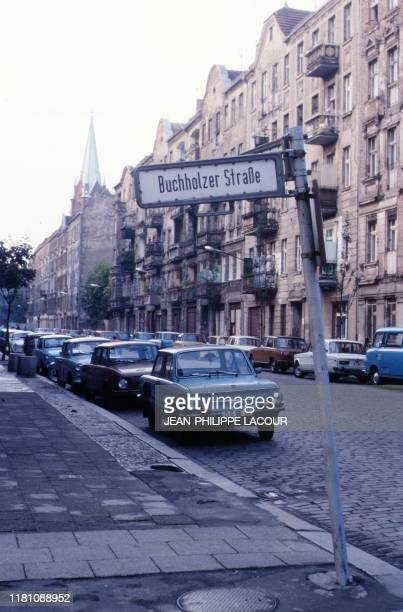 Picture taken in 1988 and made available on November 9 2019 shows a street scene at the crossroads Buchholzer Strasse and Greifenhagener Strasse in...