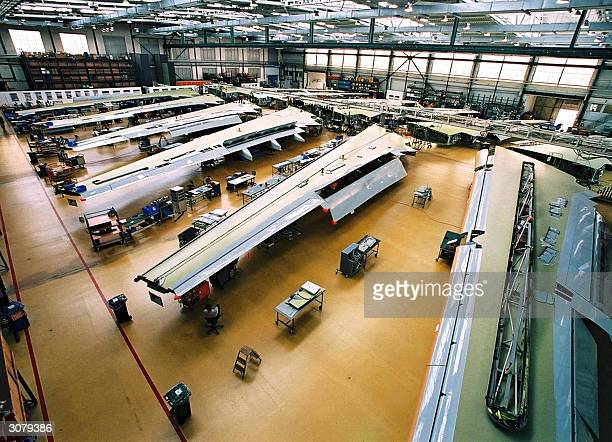 Picture taken in 2004 in Bremen shows the EADS Airbus wingassembly hall The FrenchGerman consortium EADS who is the secondbiggest aerospace group...