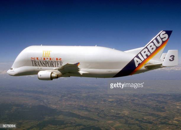 Picture taken in 2004 in Germany's air space shows the EADS Airbus' Mammoth A300600ST 'Beluga' Super Trasporter in flight The 'Beluga' designed as a...