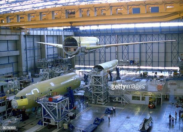 Picture taken in 2004 in Toulouse shows the EADS finalassembly hall of Airbus A340600 The FrenchGerman consortium EADS who is the secondbiggest...