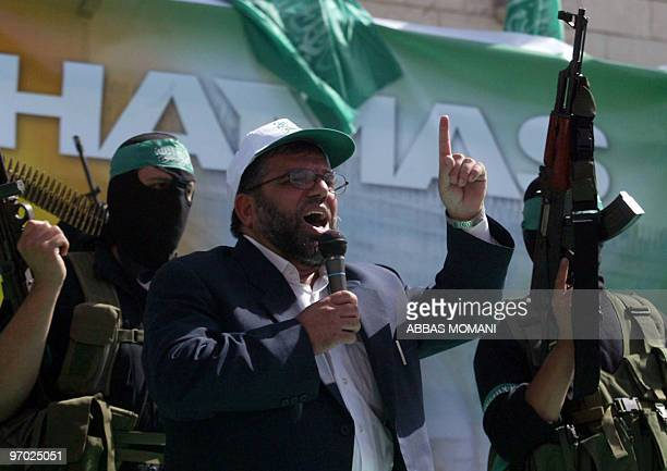 A picture taken in 2006 shows Sheikh Hassan Yousef a Hamas founder speaking during a rally for the movement in the West Bank city of Ramallah An...