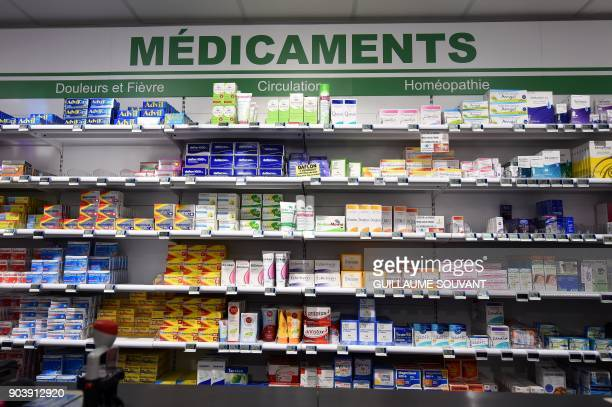 A picture taken in a pharmacy in Orleans on January 11 2018 shows medicine on shelves France said on January 11 there has been a 'major dysfunction'...