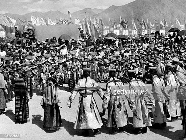 Picture taken in April 1959 of Tibetans performing traditional dance in the Tibet autonomous region