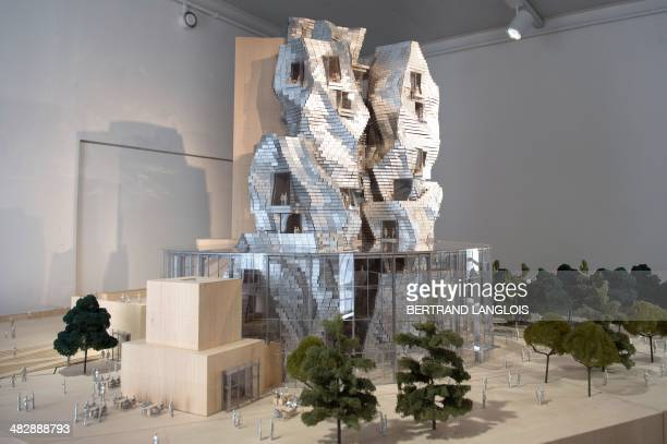 A picture taken in Arles southern France on April 5 2014 shows a scale model of the LUMA foundation architectural project by CanadianAmerican...