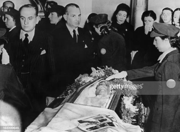Picture taken in August 1952 in Buenos Aires of Eva Peron's funerals Eva Peron known as Evita the second wife of Argentine President Juan Peron was a...
