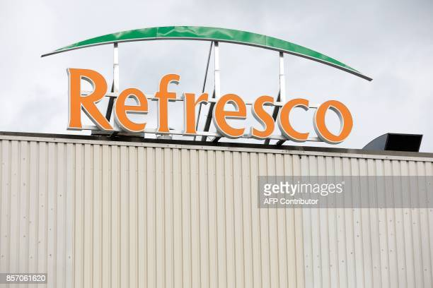 A picture taken in Boegraven on October 3 2017 shows a view of the Refresco logo on the roof of the factory Refresco Europe's largest juice and...