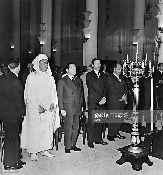 Picture taken in Casablanca on June 14, 1955 shows French former Head of Government Pierre Mendes-France attending funerals of French business man...