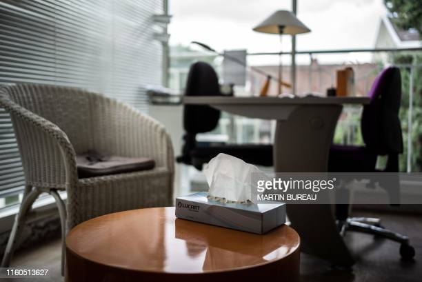 A picture taken in Chatillon south of Paris on August 7 2019 shows an inside view in the centre d'hebergement et de reinsertion sociale a shelter...