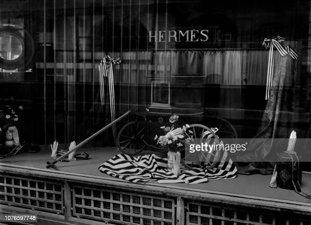 Picture taken in December 1945 of the shop window of the Hermès store in Paris