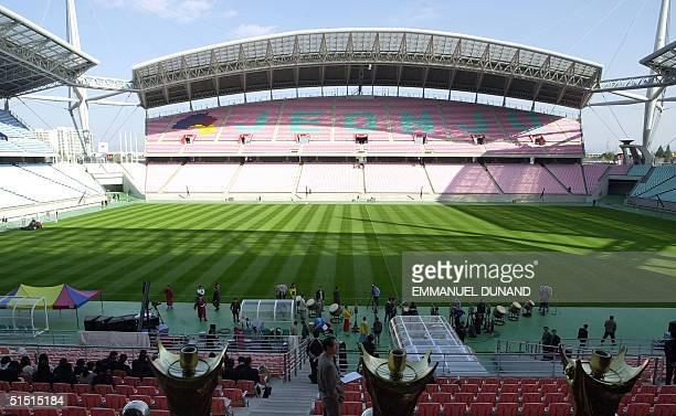 Picture taken in December 2001 of the inside of Daejeon stadium one of the venues of the 2002 FIFA World Cup taking place in Korea and Japan from 31...