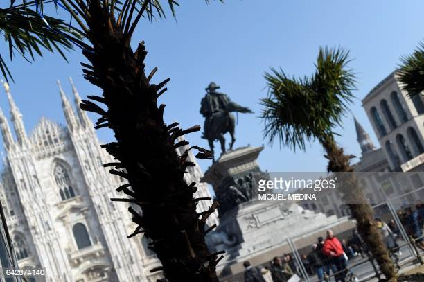 A picture taken in front of one of the Milan Cathedral at the Piazza del Duomo in Milan on February 19 2017 shows palm trees freshly planted During...