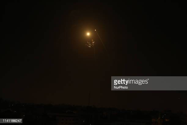 A picture taken in Gaza city on May 5 2019 shows rockets fired toward the Israeli areas from Gaza Strip Gaza militants on Saturday fired some 250...