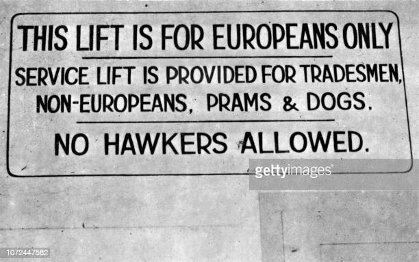 Picture taken in Johannesburg in August 1948 of a notice board with the rules under which nonEuropean people are not allowed to use a lift reserved...