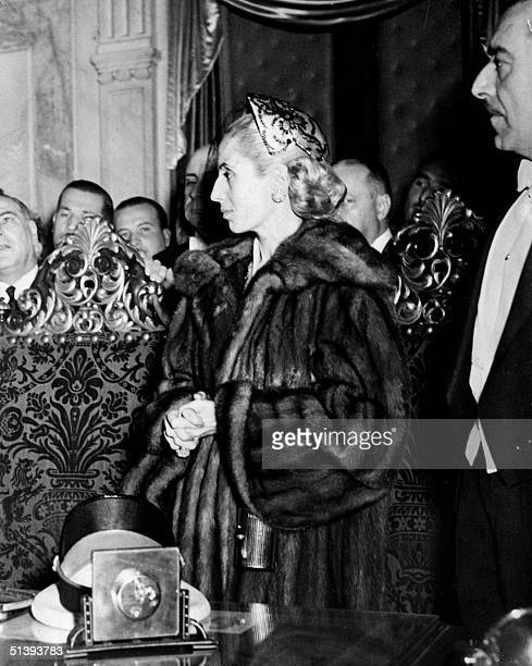 Picture taken in July 1952 in Buenos Aires of Eva Peron known as Evita The second wite of Argentine President Juan Peron was a radio and screen...