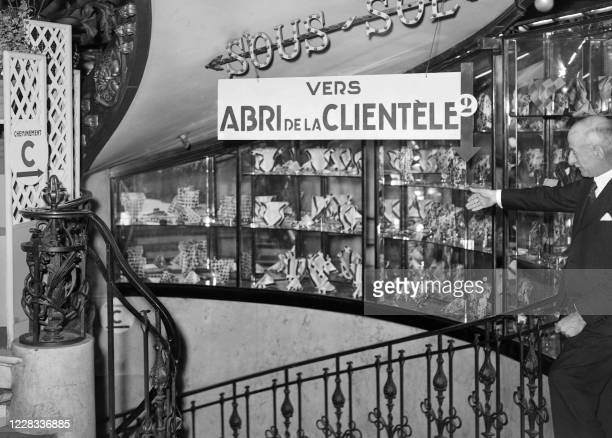 Picture taken in June 1940 at Paris showing the entrance of a shelter in a departement store during the setting up of passive defence measures due to...
